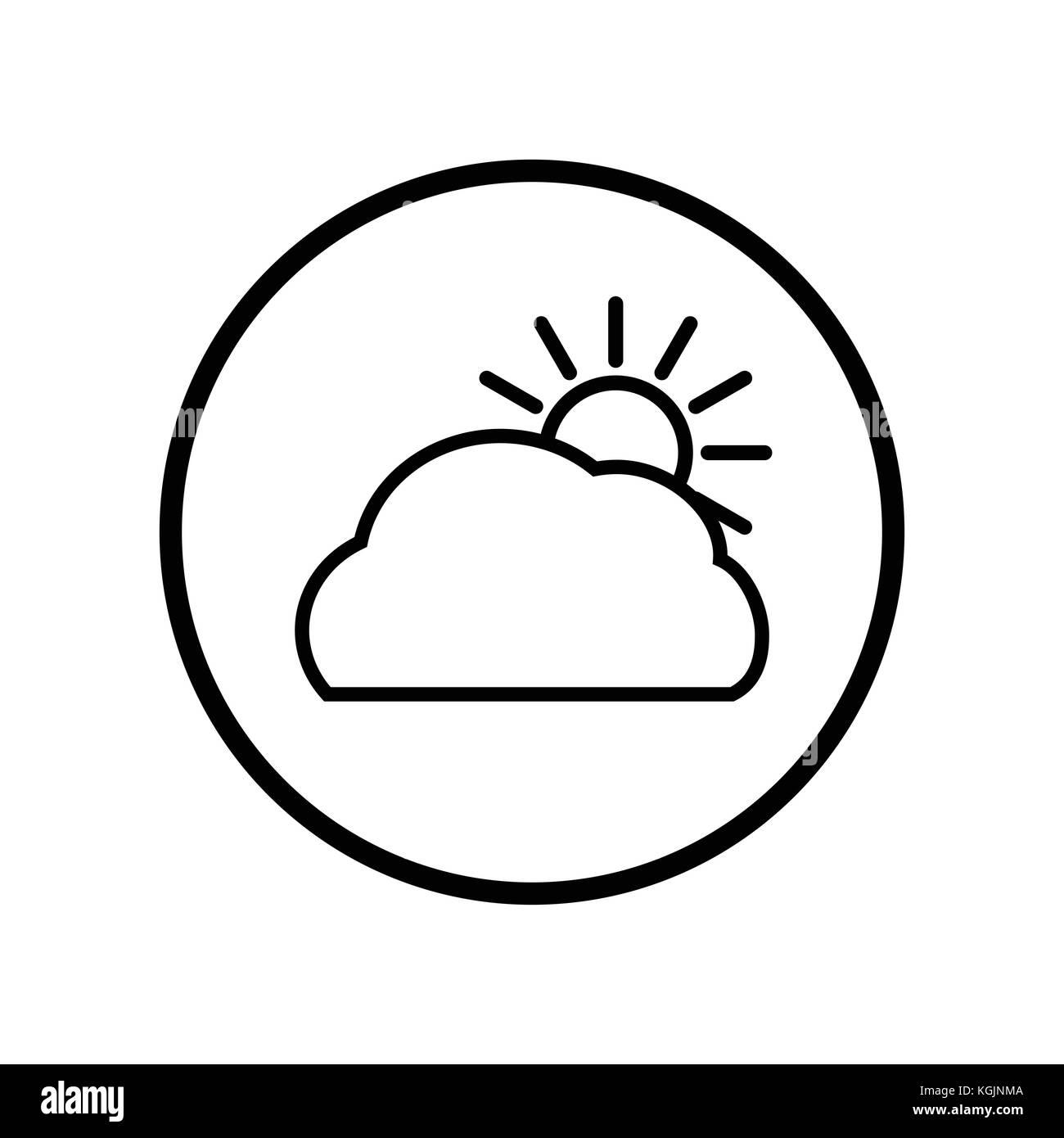 Vecteur de nuage et de soleil dans l'icône de la ligne du cercle, symbole iconique dans un cercle, sur fond blanc, pour signer météo concept. vector design iconique. Illustration de Vecteur