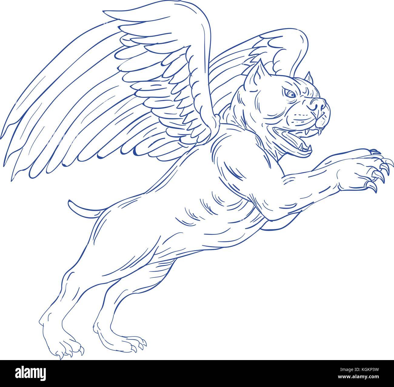 Croquis dessin illustration style de un am ricain bully - Ailes d ange dessin ...