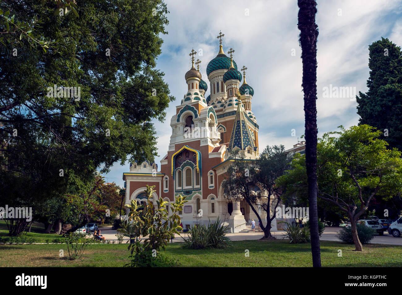 L'Europe. La France. Alpes-Maritimes (06) Nice. La Cathédrale Orthodoxe russe Saint Nicolas (ouvert en Photo Stock