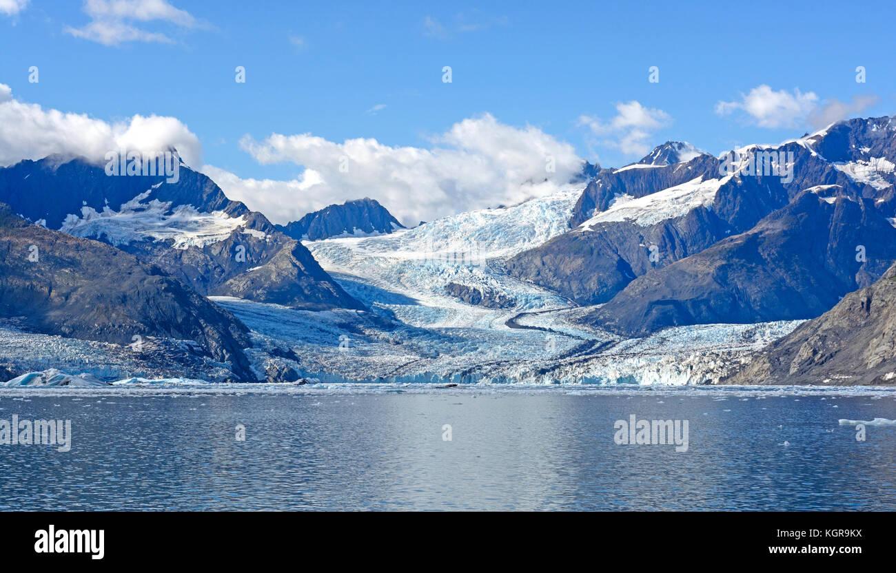 Labyrinthe de la west Arm du glacier Columbia, menant à la mer en Alaska Photo Stock