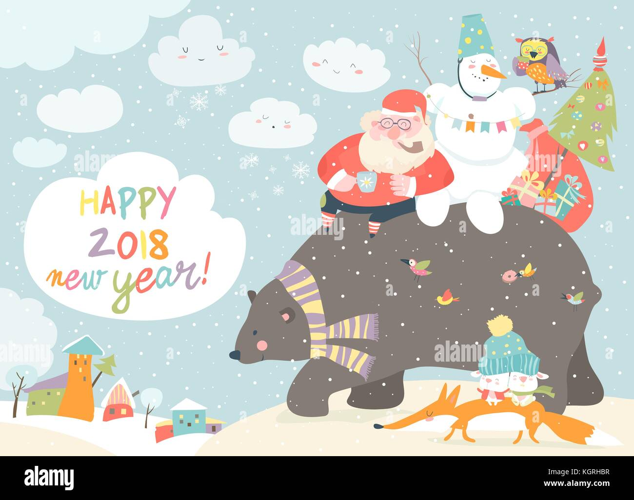 Père Noël avec Bonhomme à cheval sur l'arrière de friendly bear Illustration de Vecteur