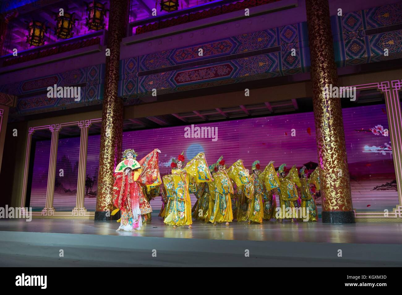 Les artistes traditionnels chinois au cours de la partie divertissement du dîner d'état de président Photo Stock