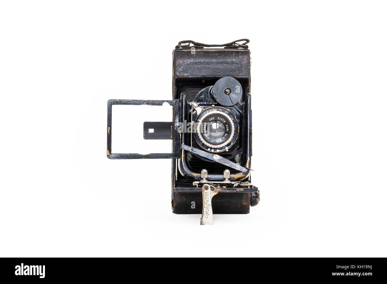 Au début du xxe siècle, les bouchers Watch Pocket Carbine 120 film camera, 1910-1920, isolé sur un Photo Stock