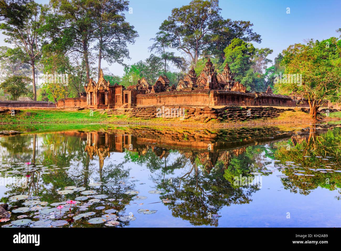 Angkor, Cambodge. BANTEAY SREI (Citadelle des femmes) temple. Photo Stock