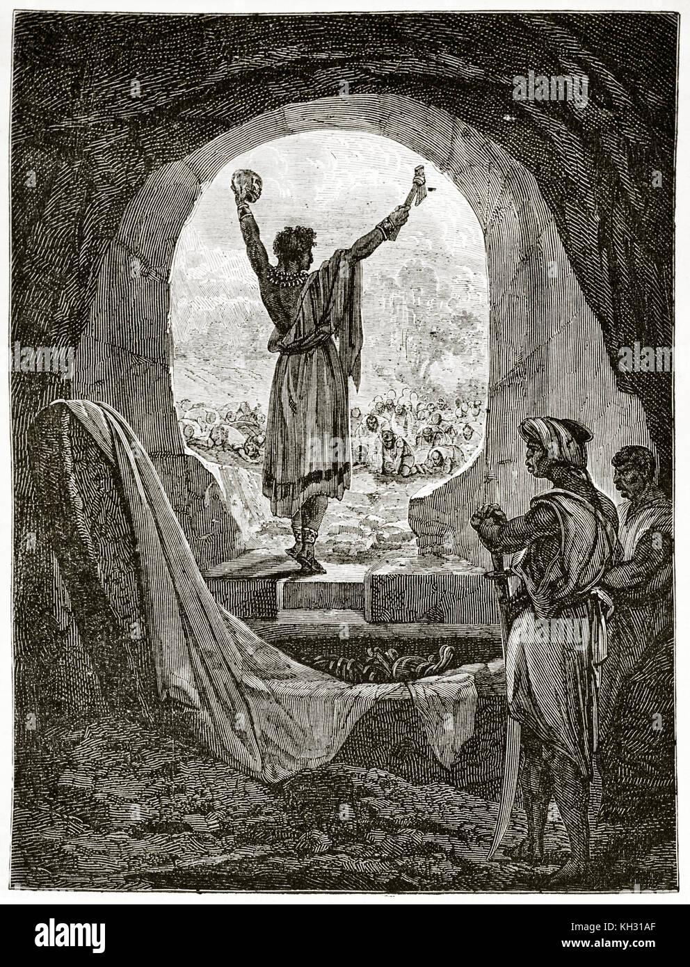 Vieille illustration représentant le couronnement du roi du Dahomey. Par Foulquier après Valdez, publ. Photo Stock