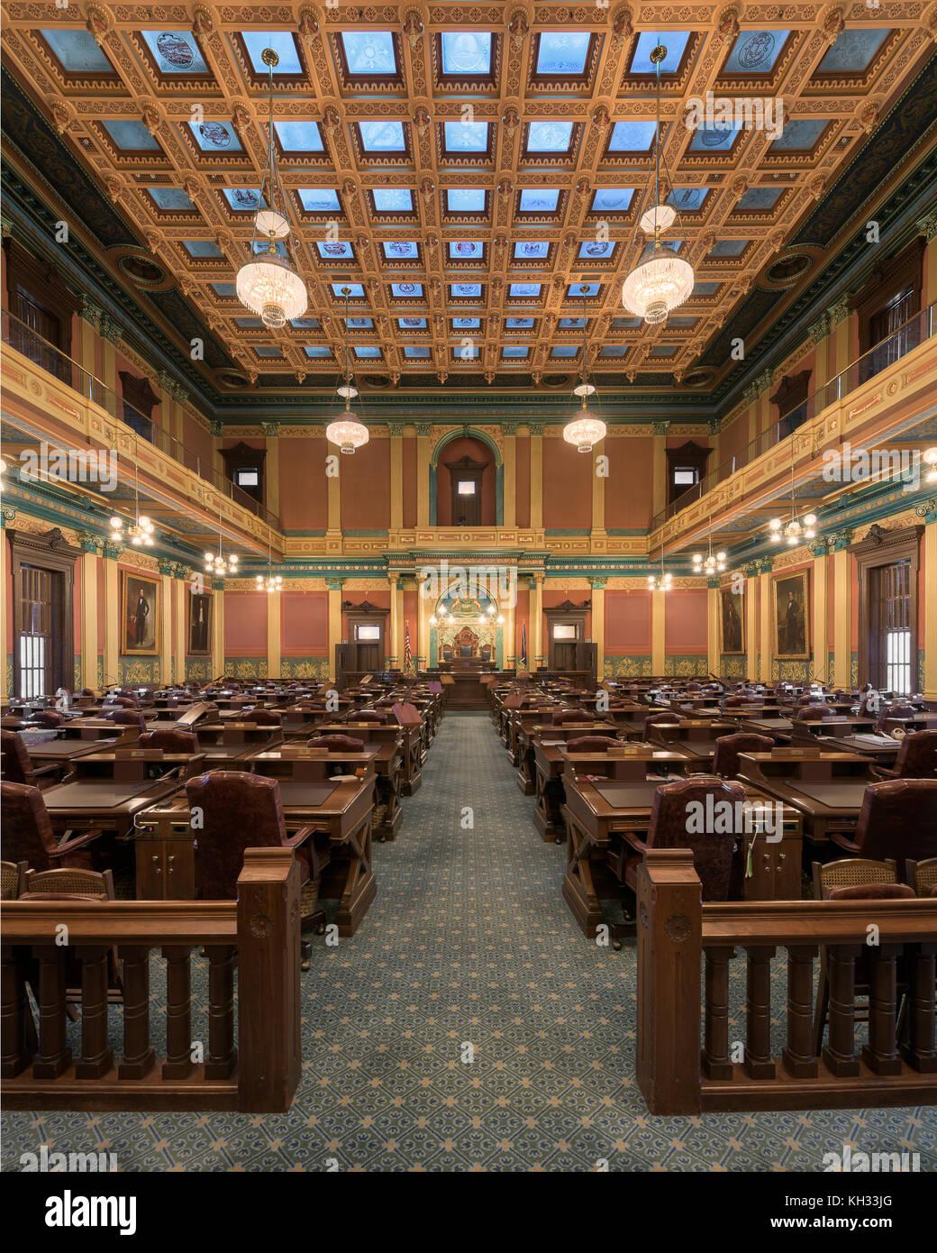 Chambre des représentants dans le capitole de l'état du Michigan à Lansing, Michigan Banque D'Images