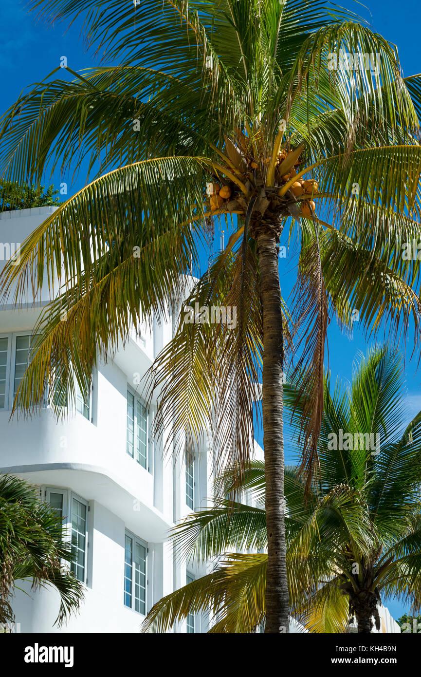 Classic 1930 architecture art-déco et de palmiers sur Ocean Drive, Miami Beach. Photo Stock
