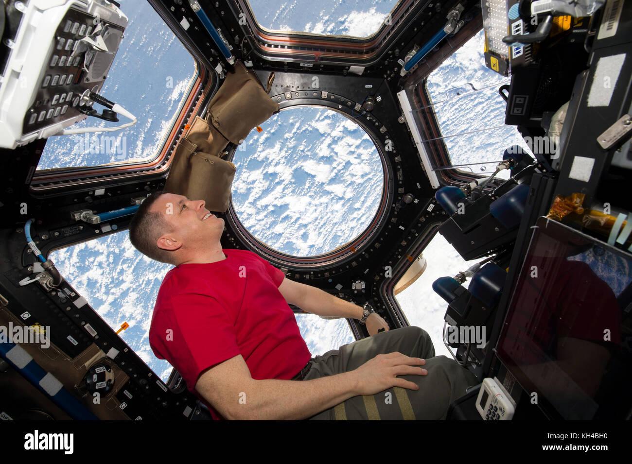 L'ingénieur de vol de l'expédition 52 Jack Fisher photographié regardant par la coupole de Photo Stock
