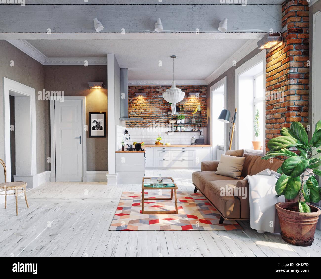Cet appartement moderne de style scandinave. intérieur design. Concept de rendu 3D Photo Stock