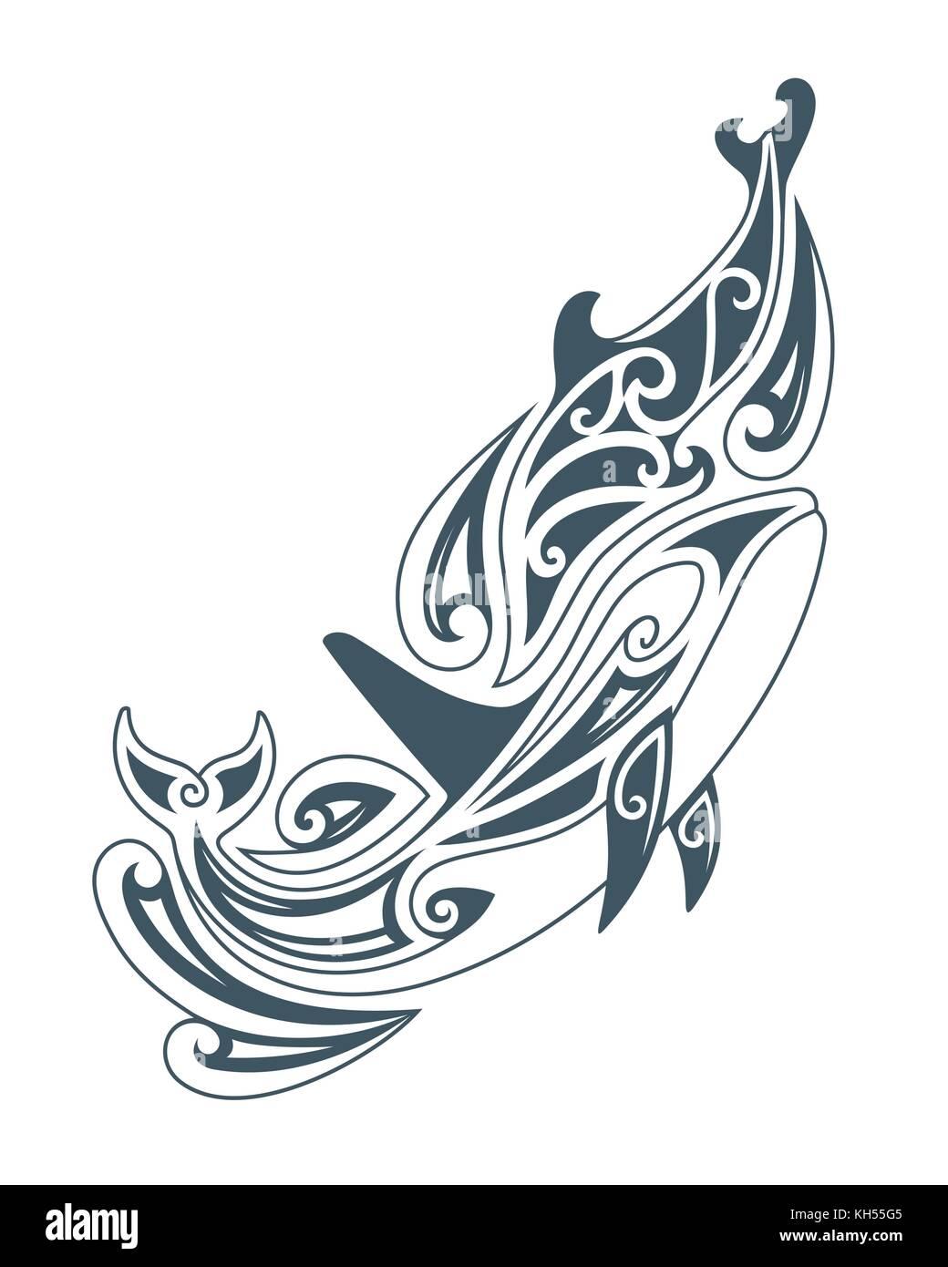 Illustration Vecteur De Dauphins Dans Le Style De Dessin Tribal