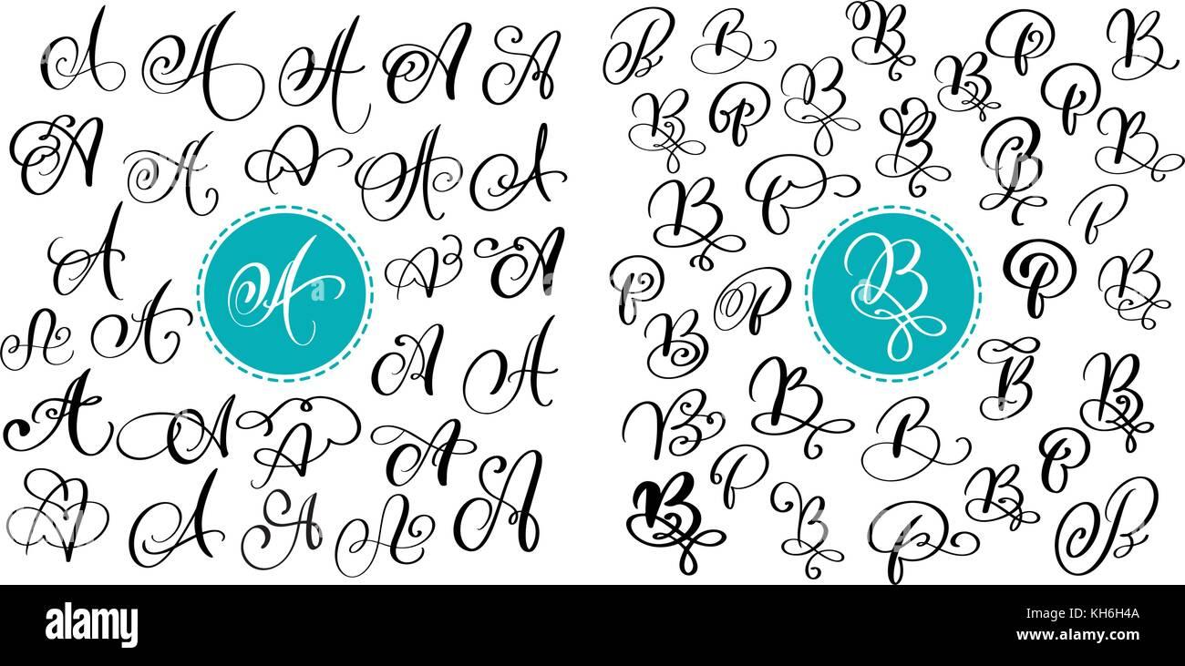 Calligraphie Lettre ensemble de vecteur dessiné à la main une lettre de calligraphie et
