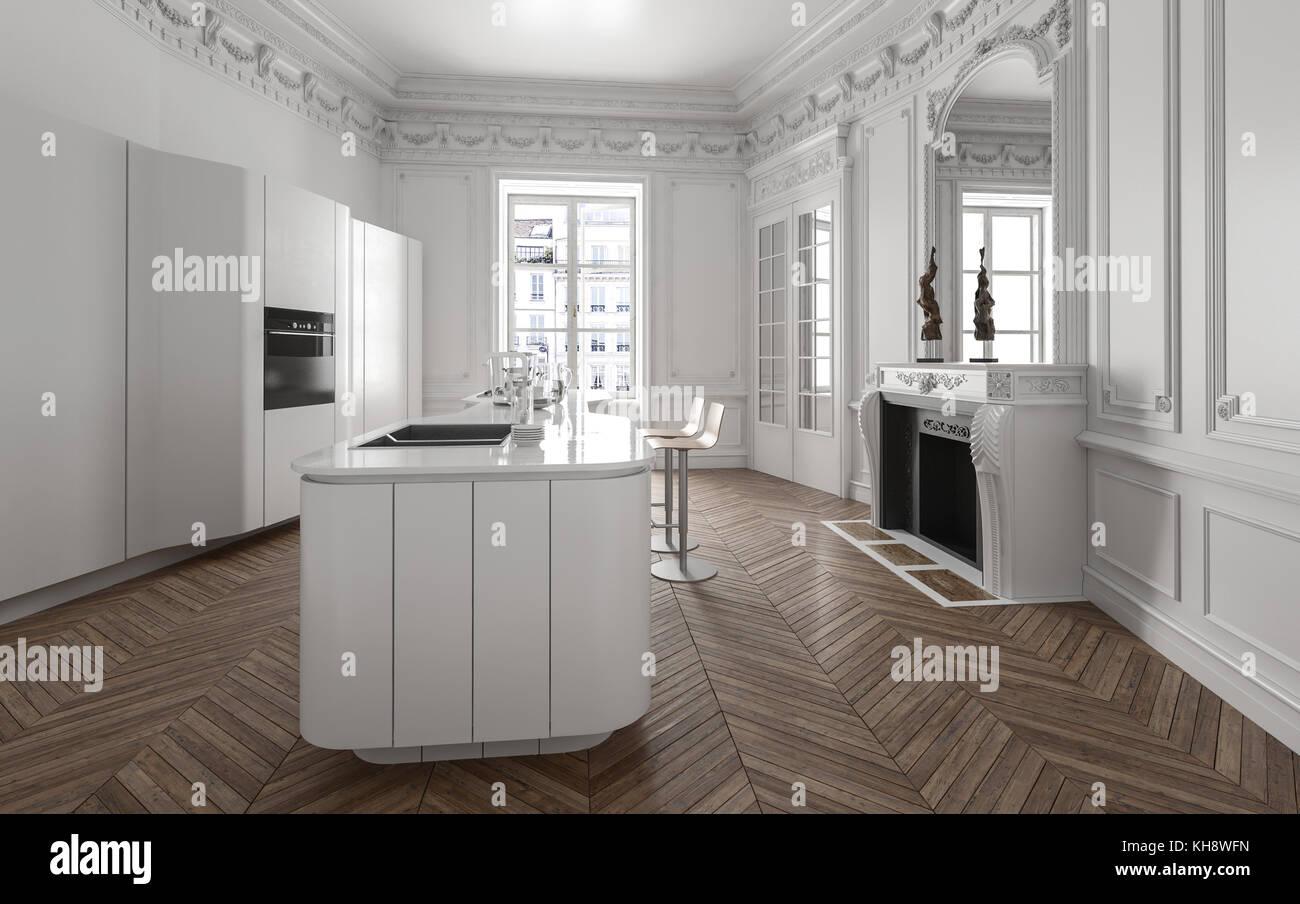 Plan Ouvert Avec Cuisine Interieur Luxe Moderne Equipe Des Appareils