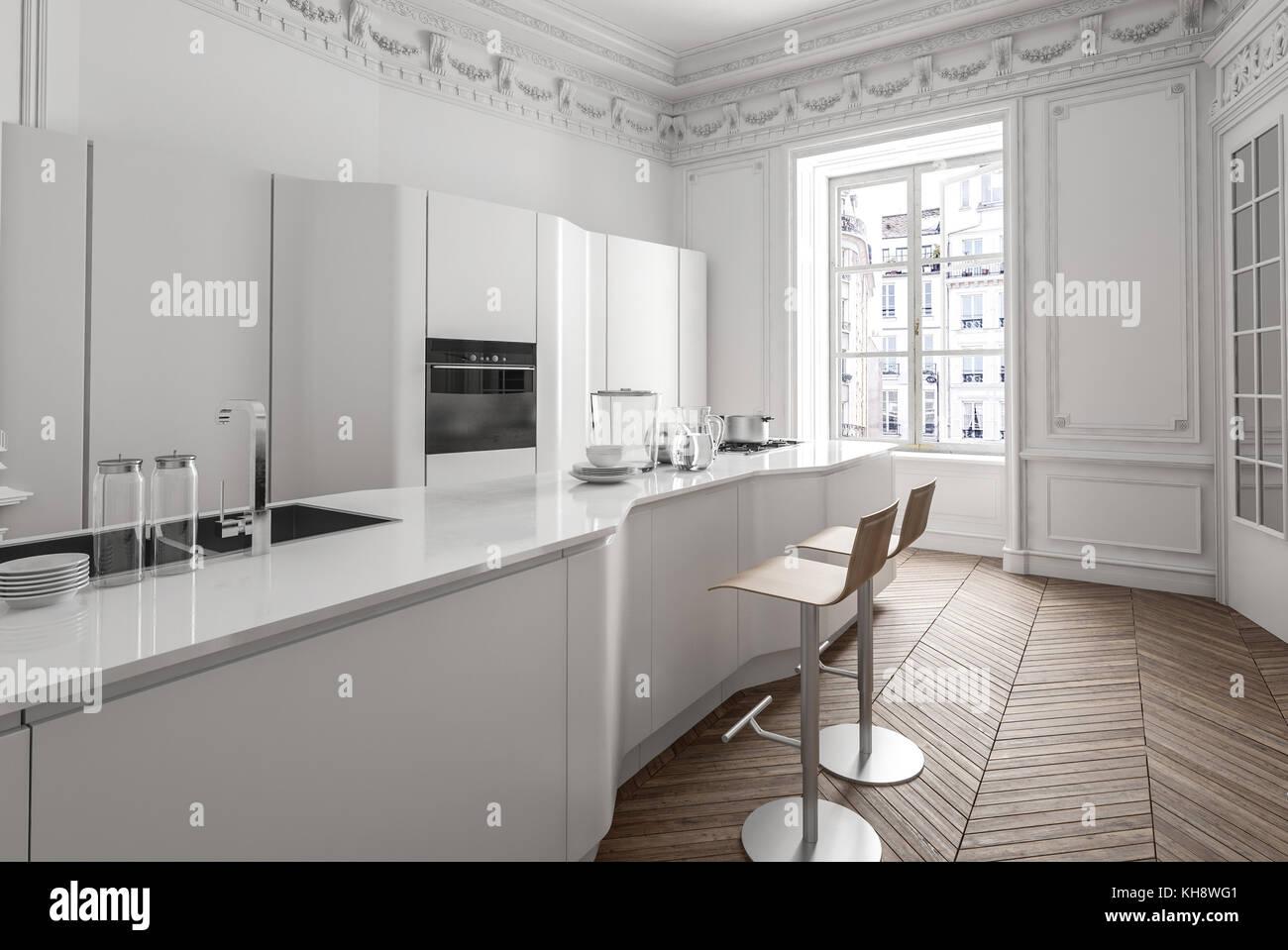 Appartement Classique Blanc Interieur Avec Cuisine Equipee