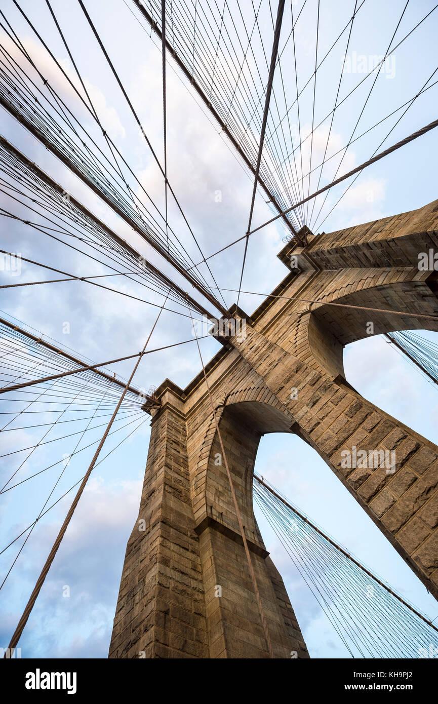 Pont de Brooklyn new york city close up détails architecturaux Photo Stock