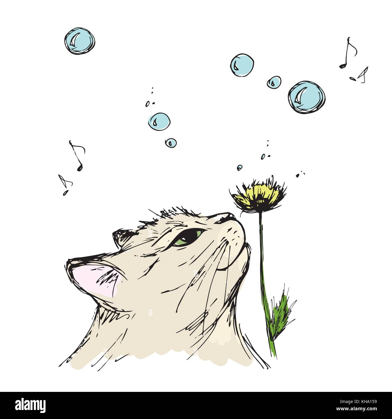 L Inhalation De Chat Une Fleur De Printemps Dessin à La