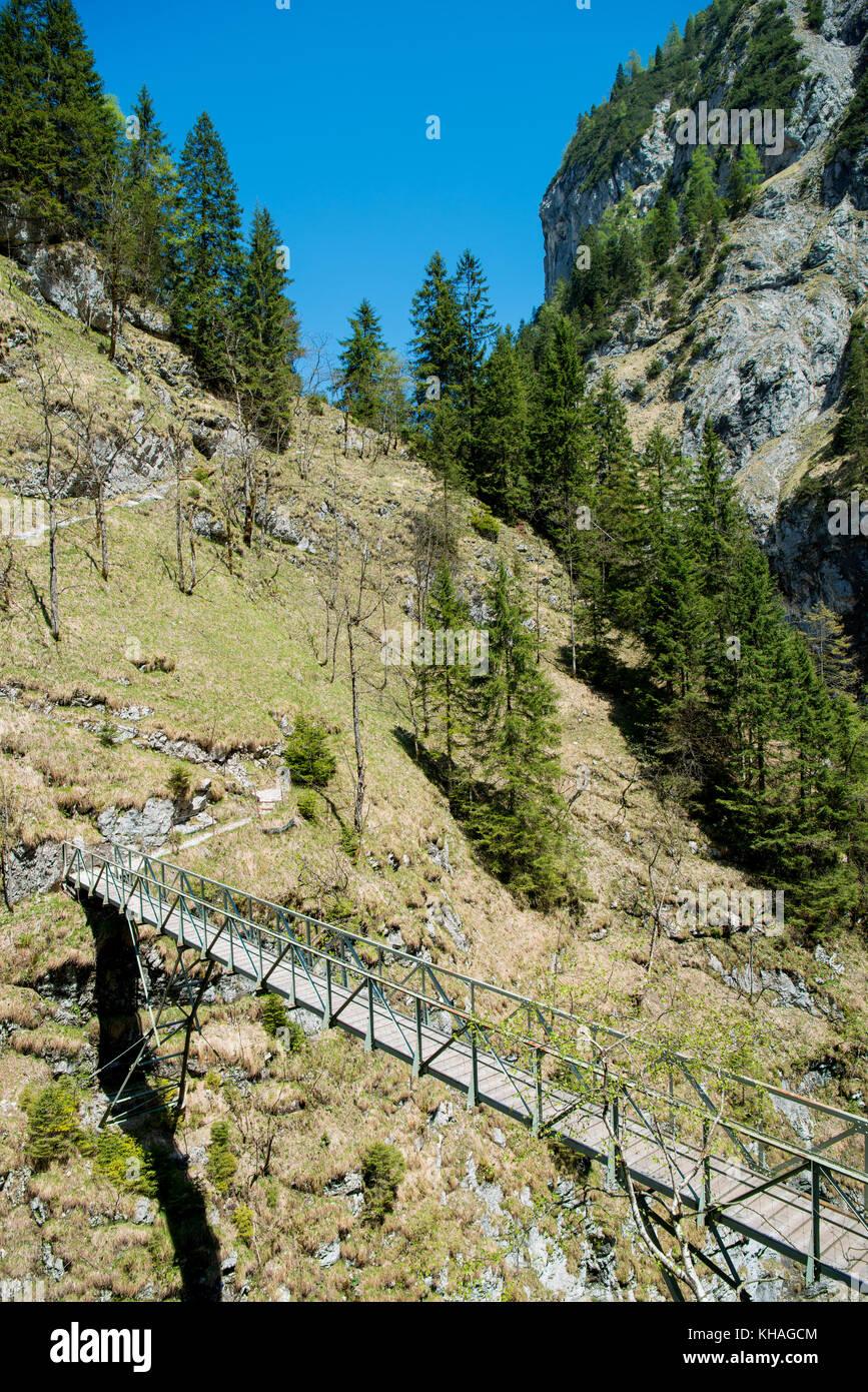 Stangensteig, sentier de randonnée Sentier de randonnée pont comme alternative à travers l'höllentalklamm, Photo Stock