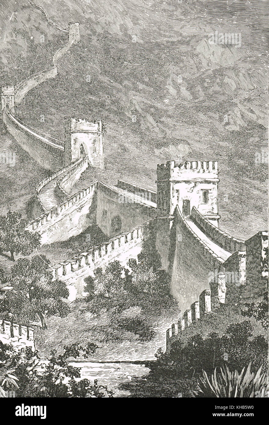 La grande muraille de Chine, 19e siècle view Photo Stock