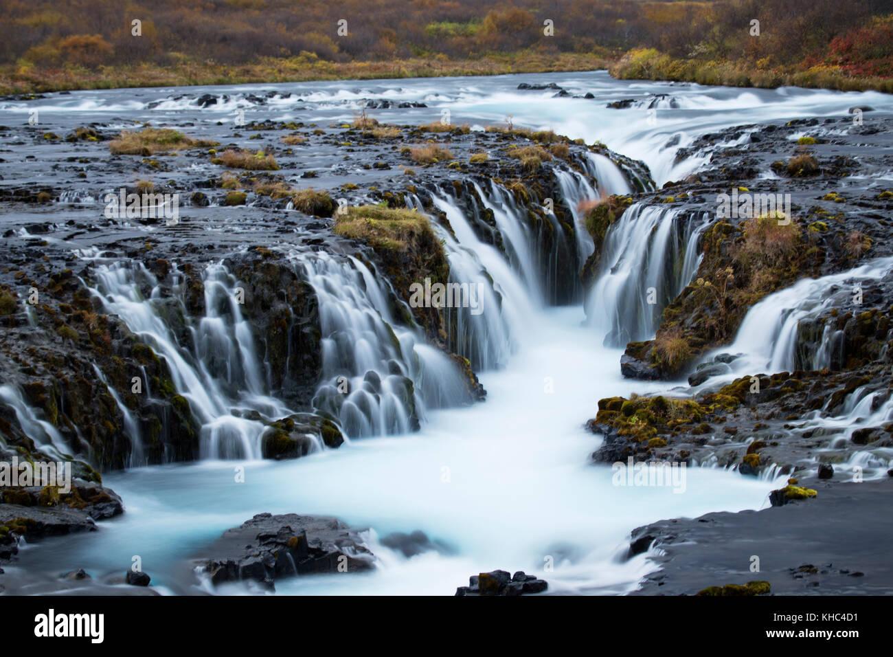 Chute d'Brúarárfoss sur le cercle d'or, une route touristique populaire en Islande. Photo Stock