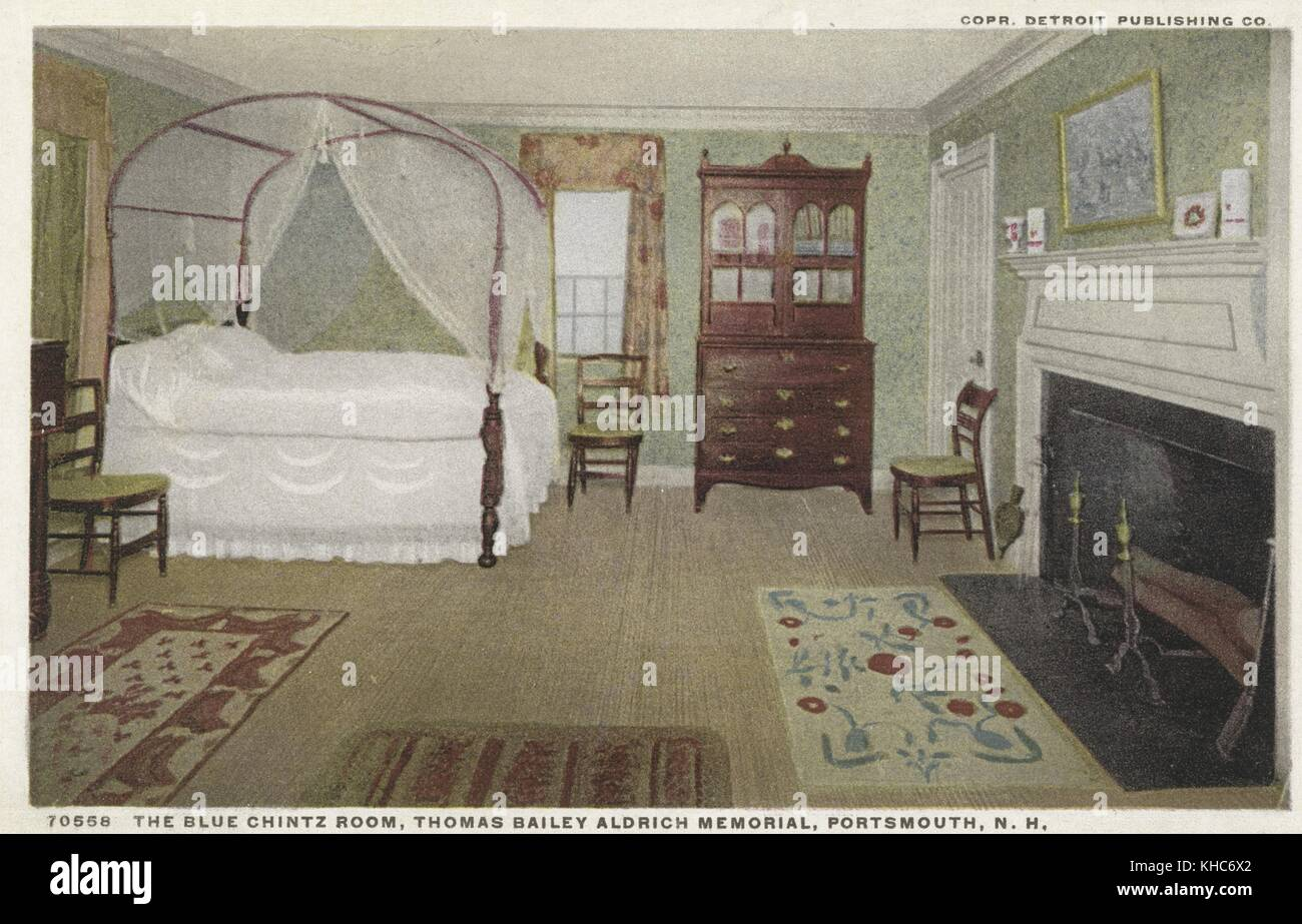Carte postale de la chambre bleue, à l'chintz thomas bailey aldrich memorial, Portsmouth, New Hampshire, Photo Stock