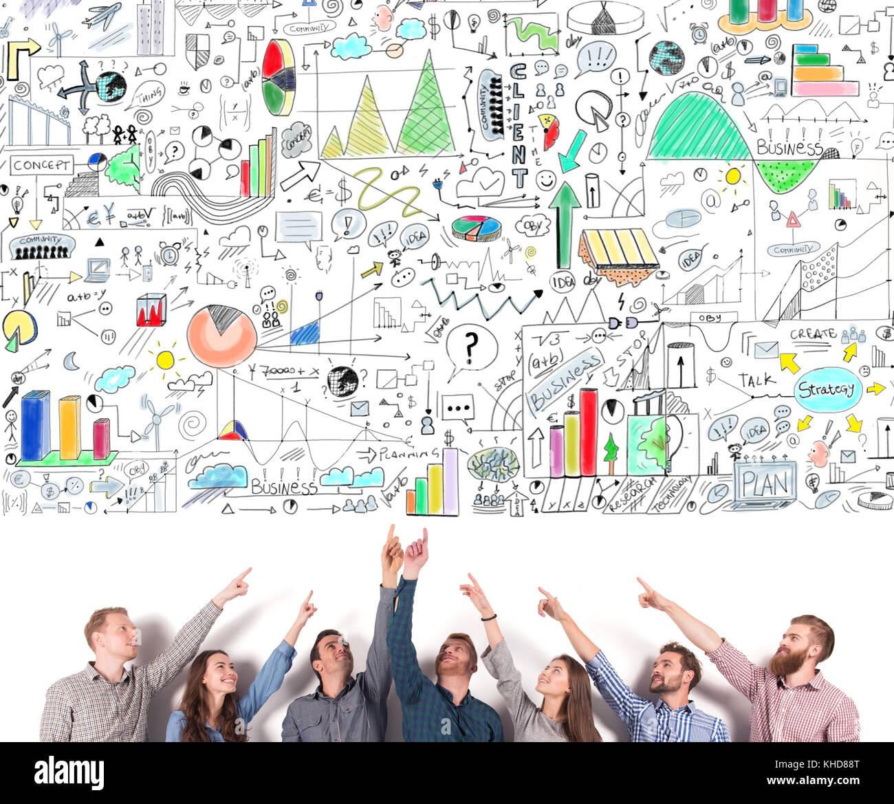 L'équipe d'indiquer un projet d'entreprise. concept d'idée créative et d'équipe Photo Stock