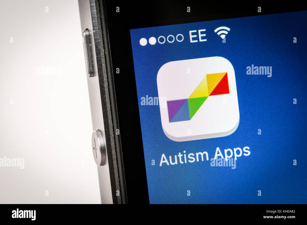 Apps autisme app sur un iPhone Photo Stock