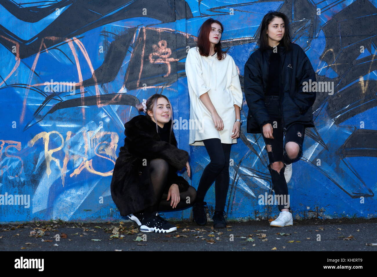 Trois filles, teenegers Photo Stock