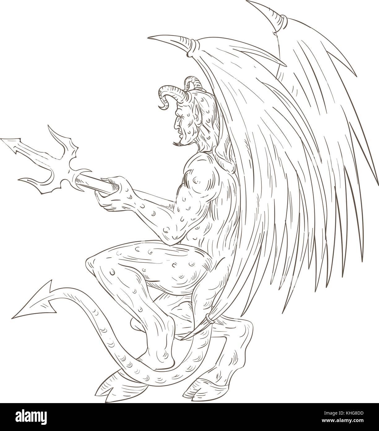 Croquis dessin illustration de style d 39 un d mon satan d mon ou monstre cornu avec des ailes de - Dessin de demon ...