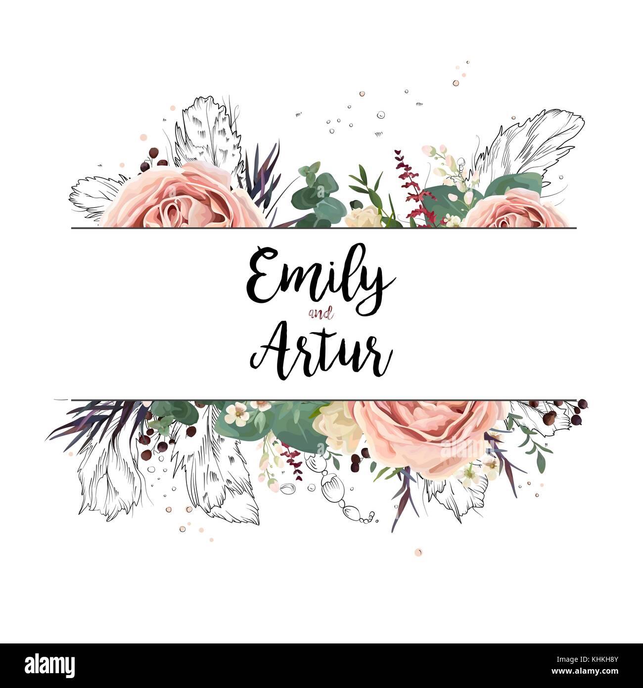 Floral design vector art boho carte invitation mariage carte aquarelle dessin jardin de fleurs - Dessin invitation ...