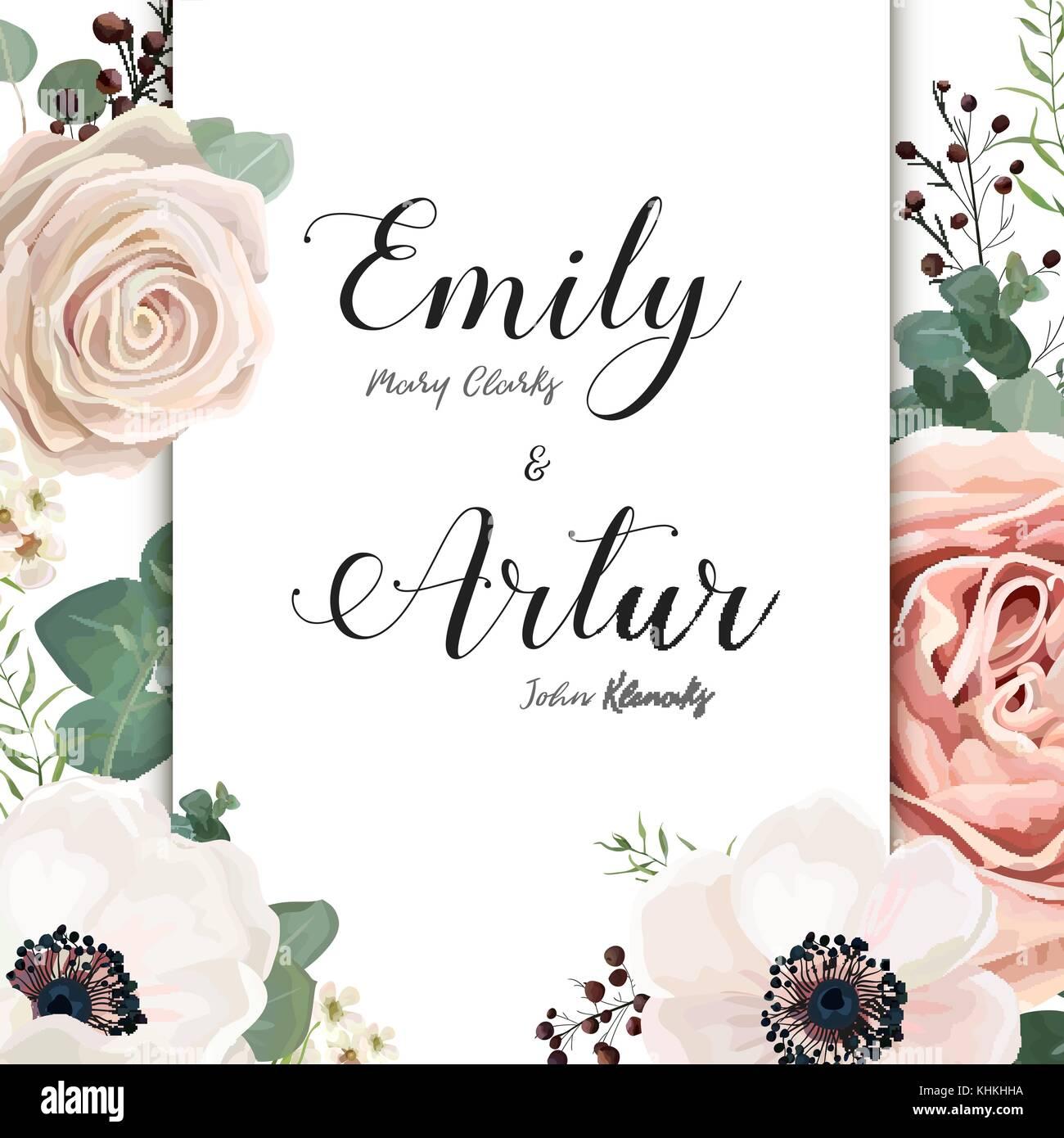 Invitation de mariage floral vecteur conception élégante carte d ...