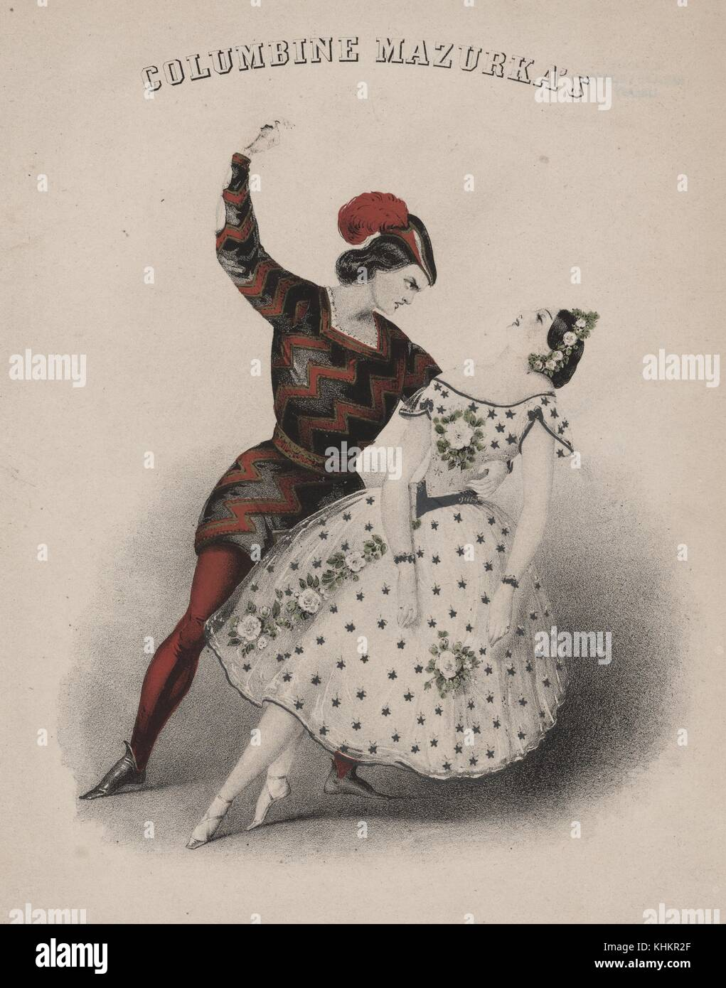 Une Couleur Deux Personnes Dansant Représentant Lithographie PuXZik