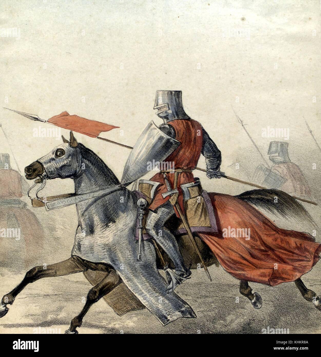 lithographie couleur repr sentant un hombre espagnol de armas homme d 39 armes partir de 1300. Black Bedroom Furniture Sets. Home Design Ideas