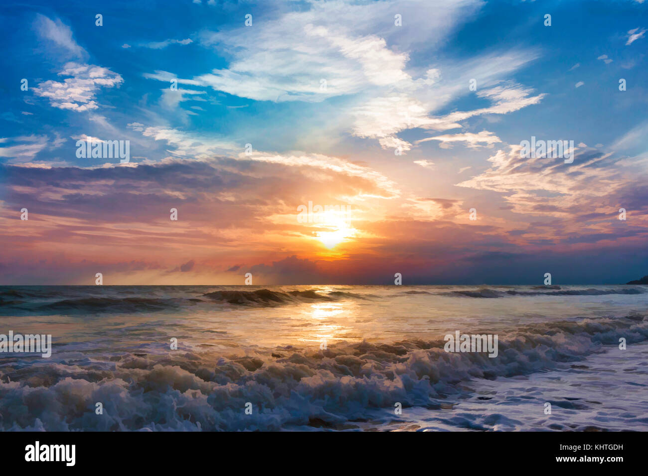 Nature peinture, les vagues de la mer et la belle nature Photo Stock