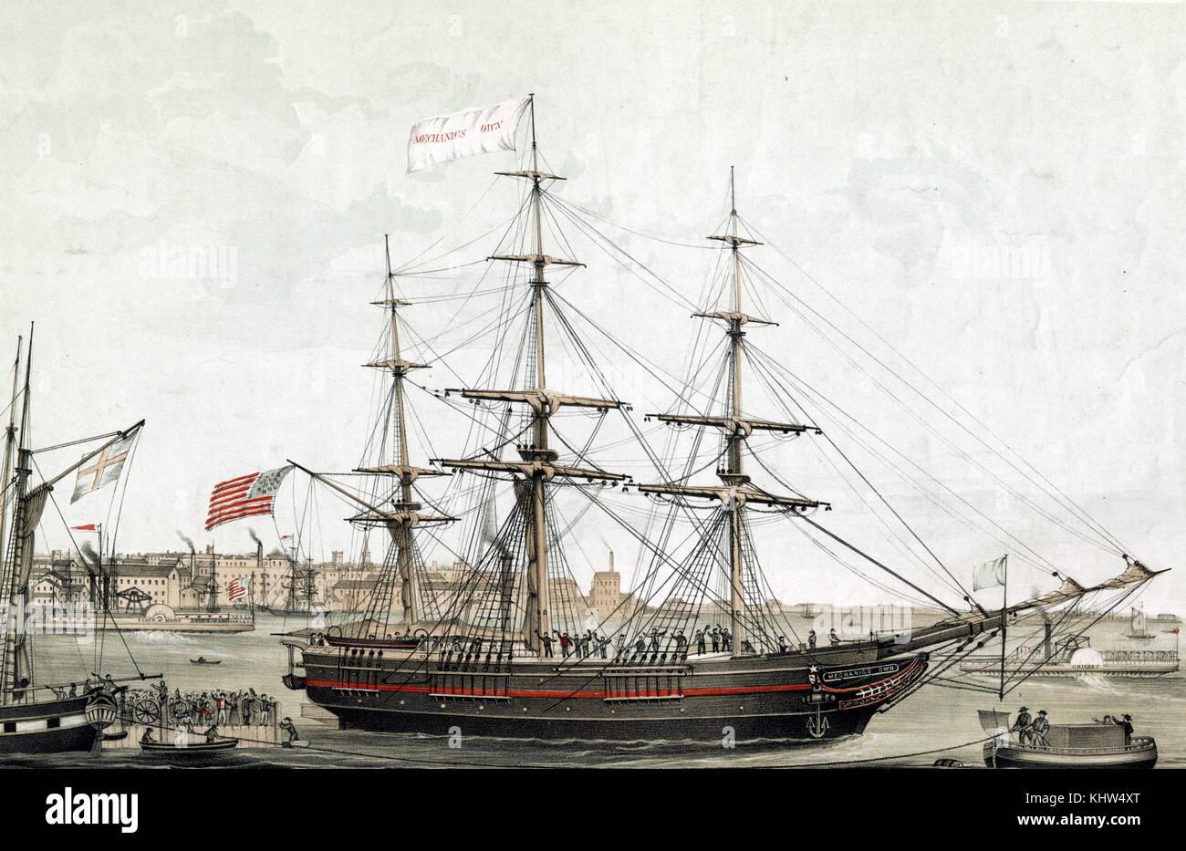 Impression couleur représentant le navire 'Mechanics' propre', construit pour le Mechanics Mining Photo Stock