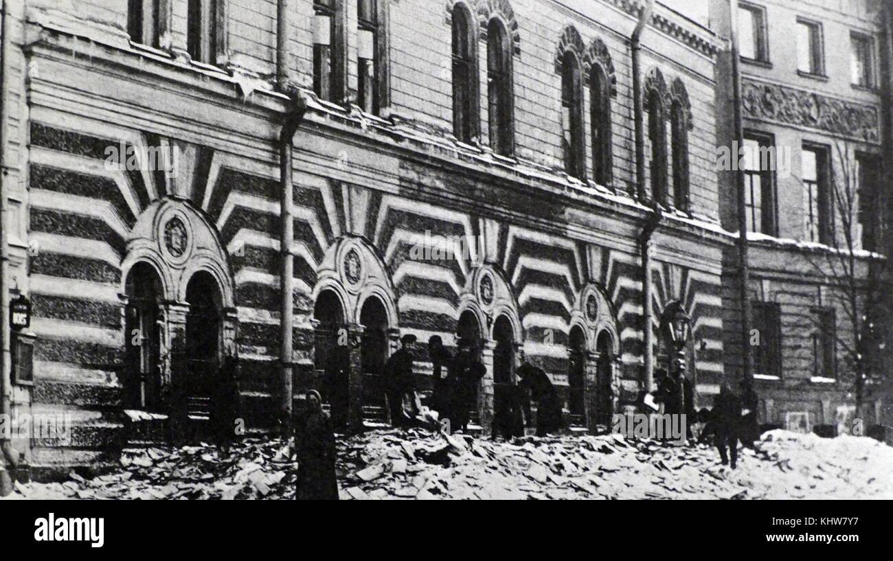 Photographie d'une archive qui a été détruit pendant la Révolution russe de 1917. En date Photo Stock