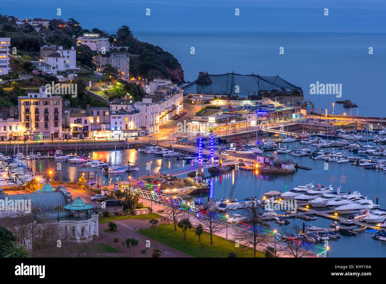 Le port de Torquay par nuit Photo Stock