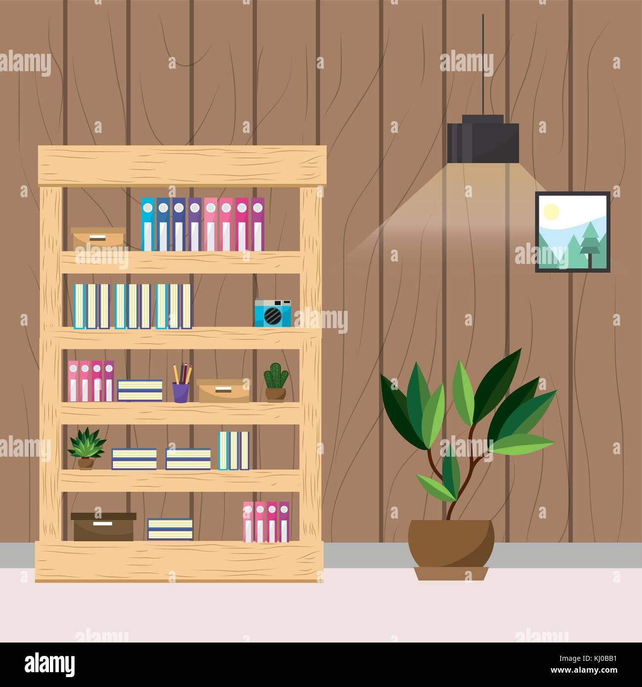 Lieu de travail et de conception des bureaux Illustration de Vecteur