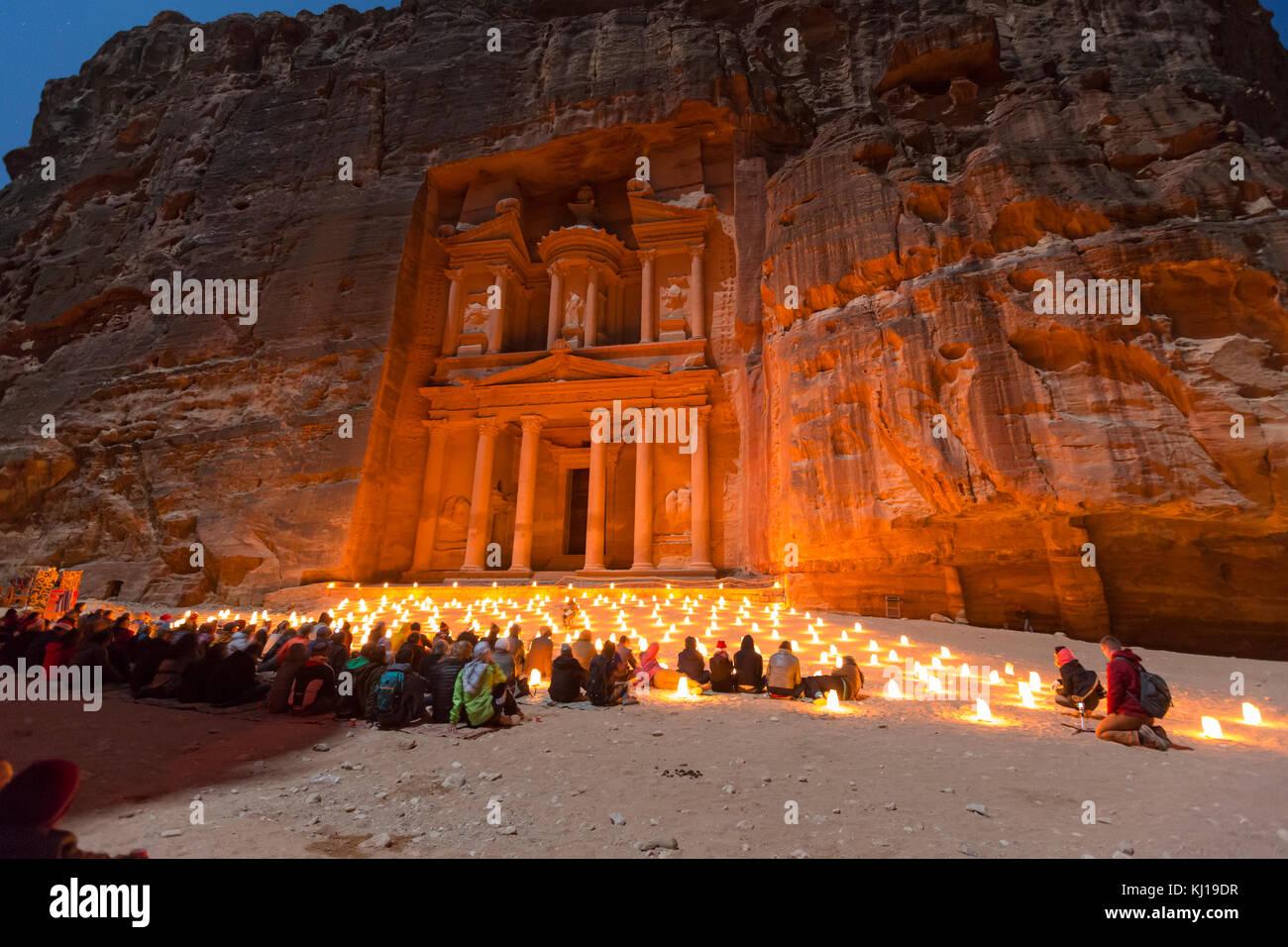 Petra, Jordanie, le 24 décembre 2015, le Conseil du Trésor, Petra de nuit. L'ancienne ville de Petra, Photo Stock
