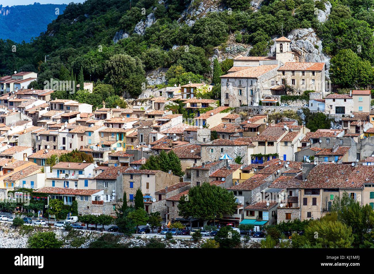 France, Var (83), Parc Naturel Régional du Verdon. Le village de Bauduen Banque D'Images