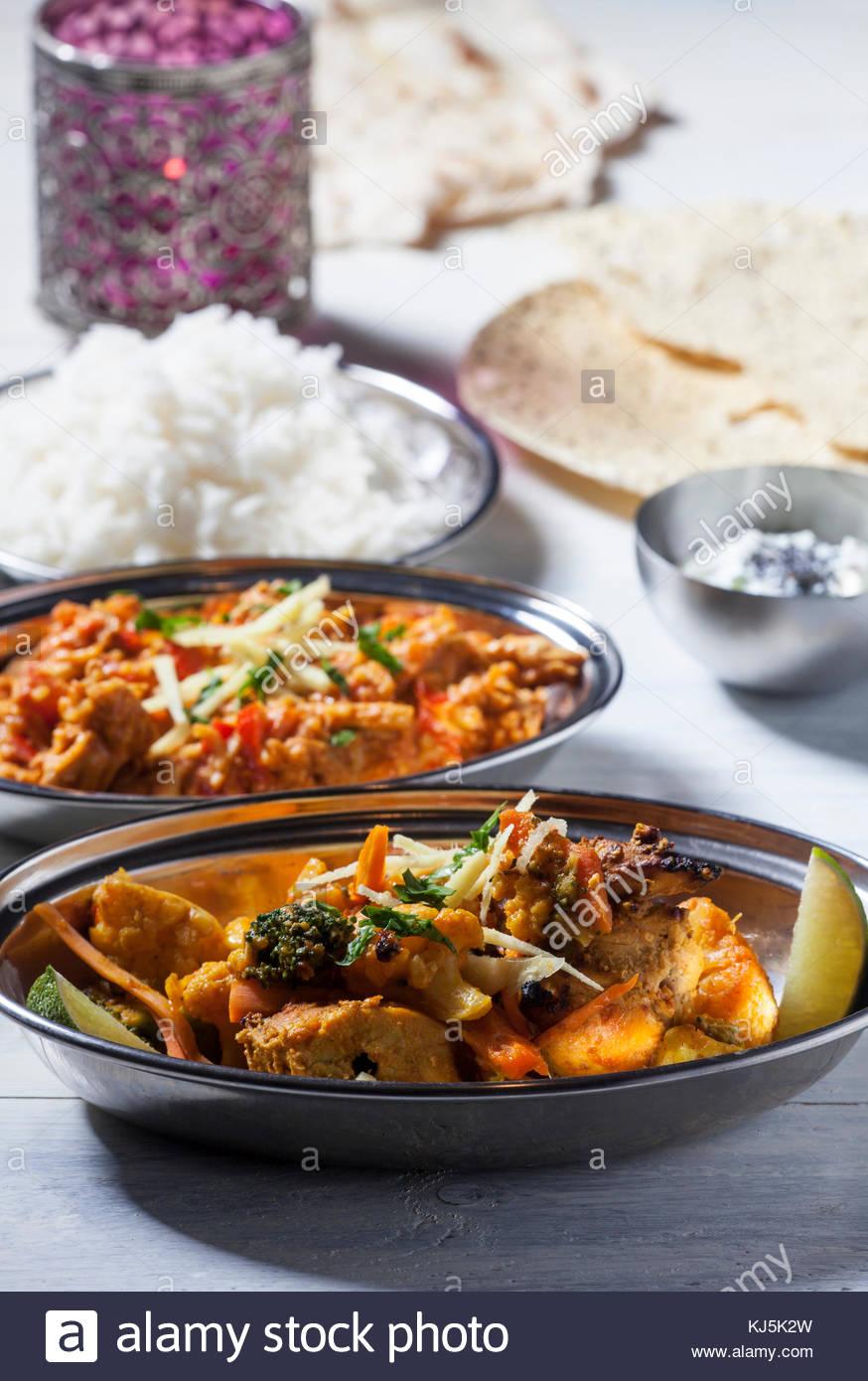 Dîner au curry Photo Stock