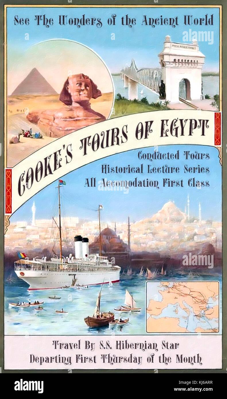 Thomas Cook (1808-1892) Homme d'affaires anglais qui a fondé l'agence de voyages. poster sur 1890 Photo Stock