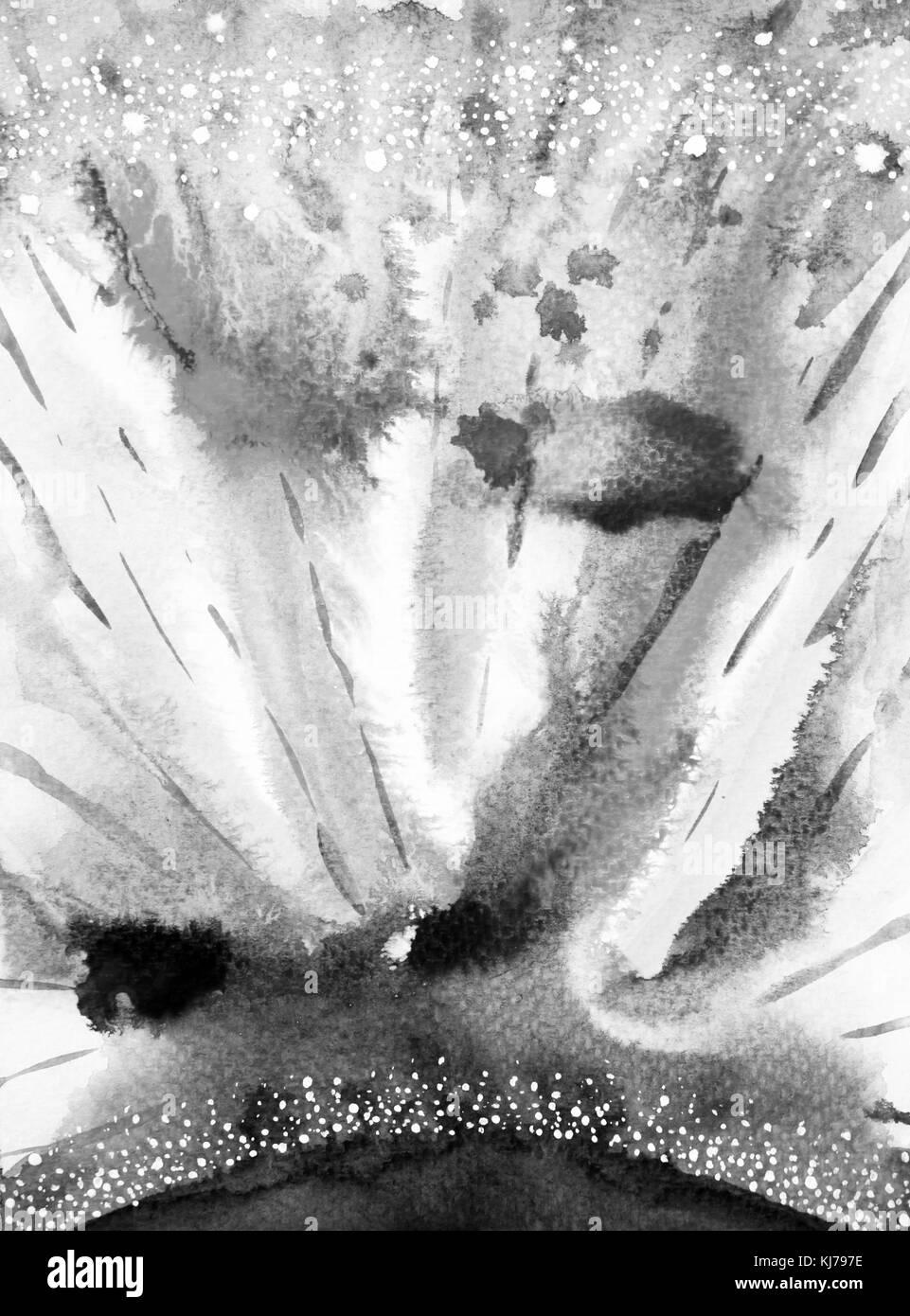Peinture Aquarelle Abstrait Noir Blanc Fond Univers