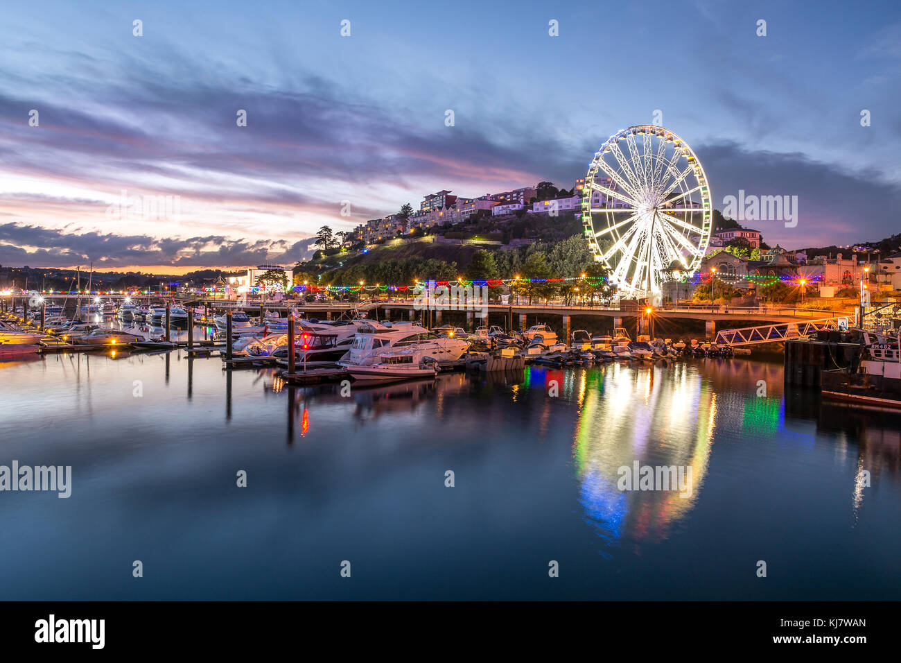 Le port de Torquay, au crépuscule Photo Stock