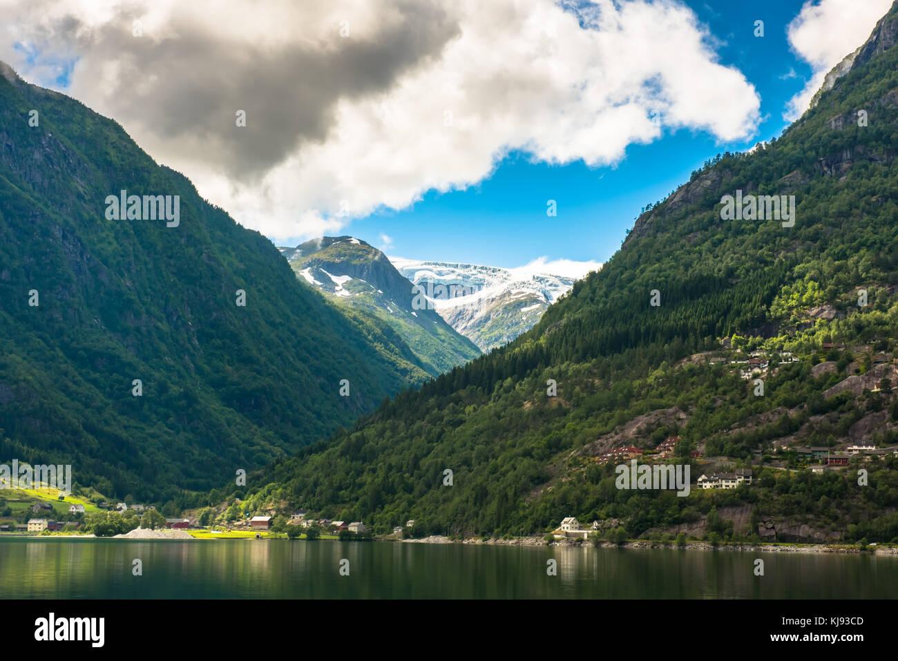 Fjord Hardanger Norvège paysage. Photo Stock