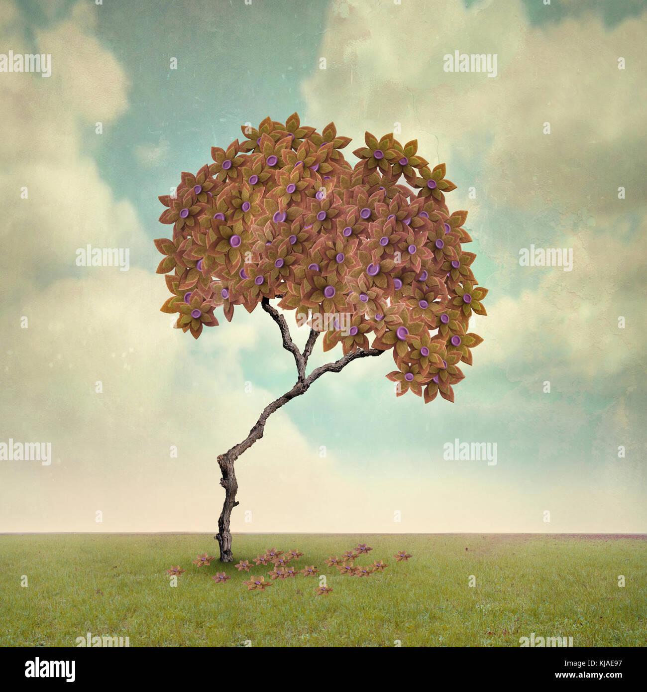 Arbre généalogique artistique d'illustration à l'automne Photo Stock
