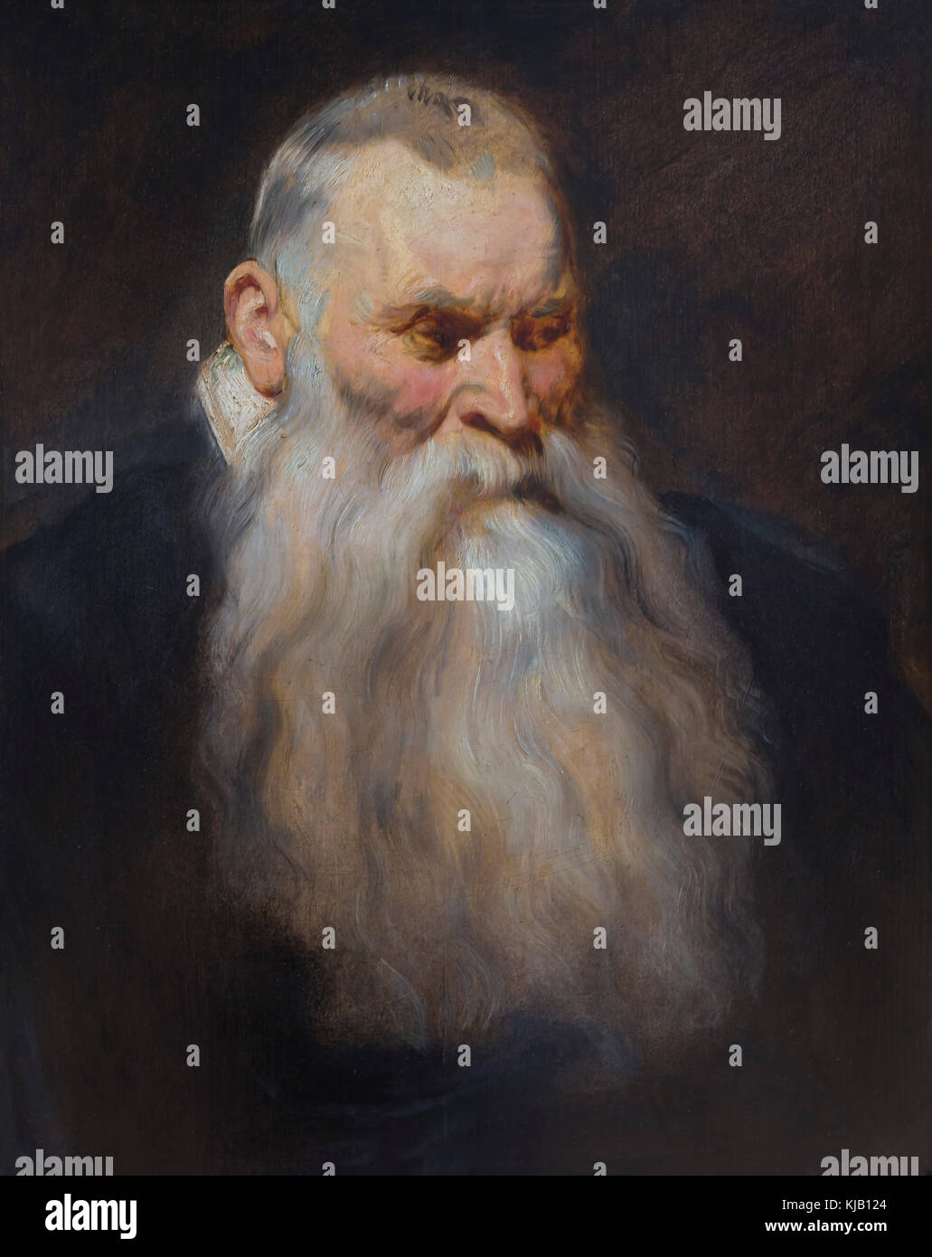 Tête d'étude d'un vieil homme avec une barbe blanche, Anthony Van Dyck, vers 1617-1620, Metropolitan Photo Stock