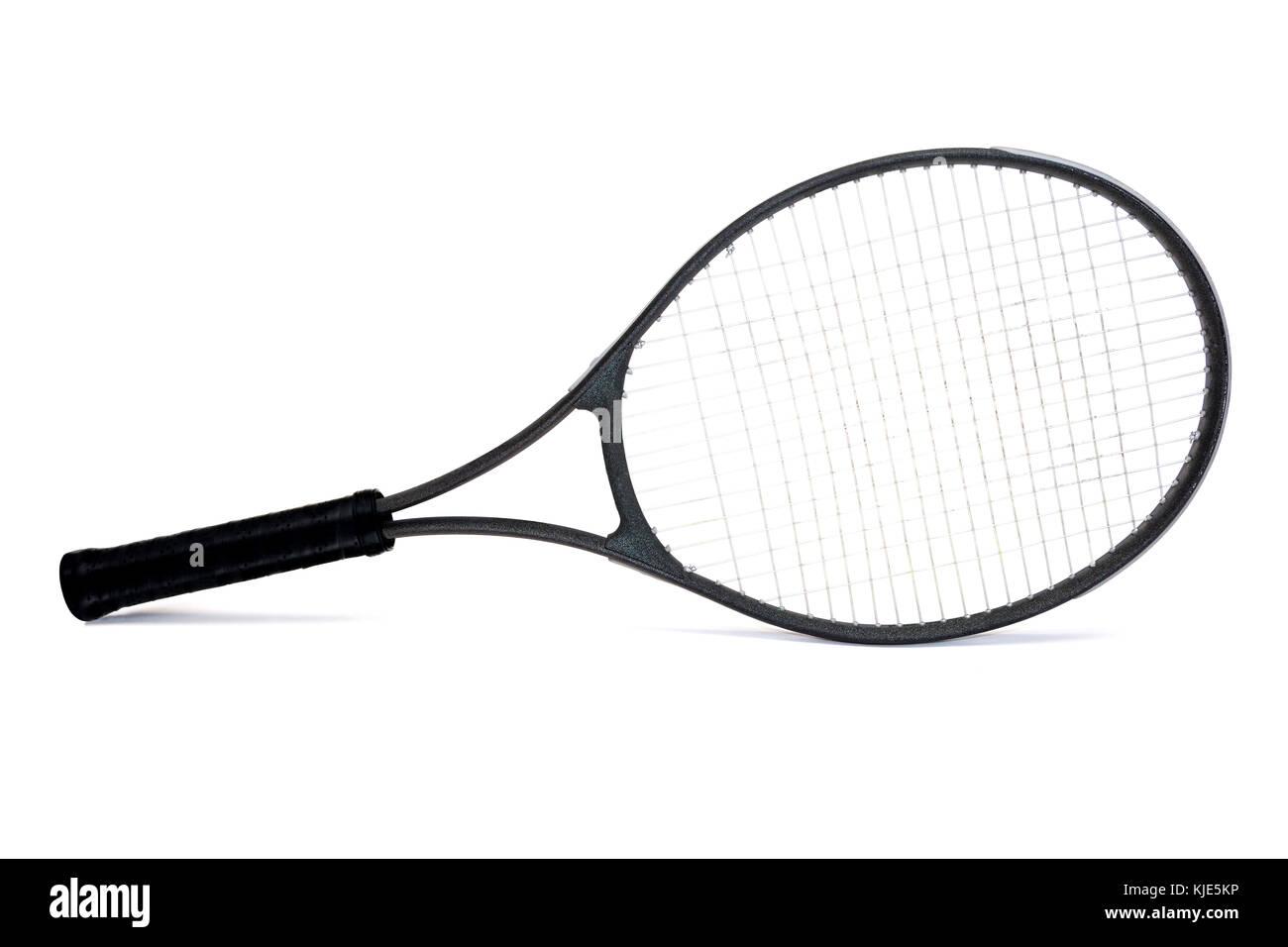 Des raquette de tennis graphite isolé sur fond blanc. Photo Stock