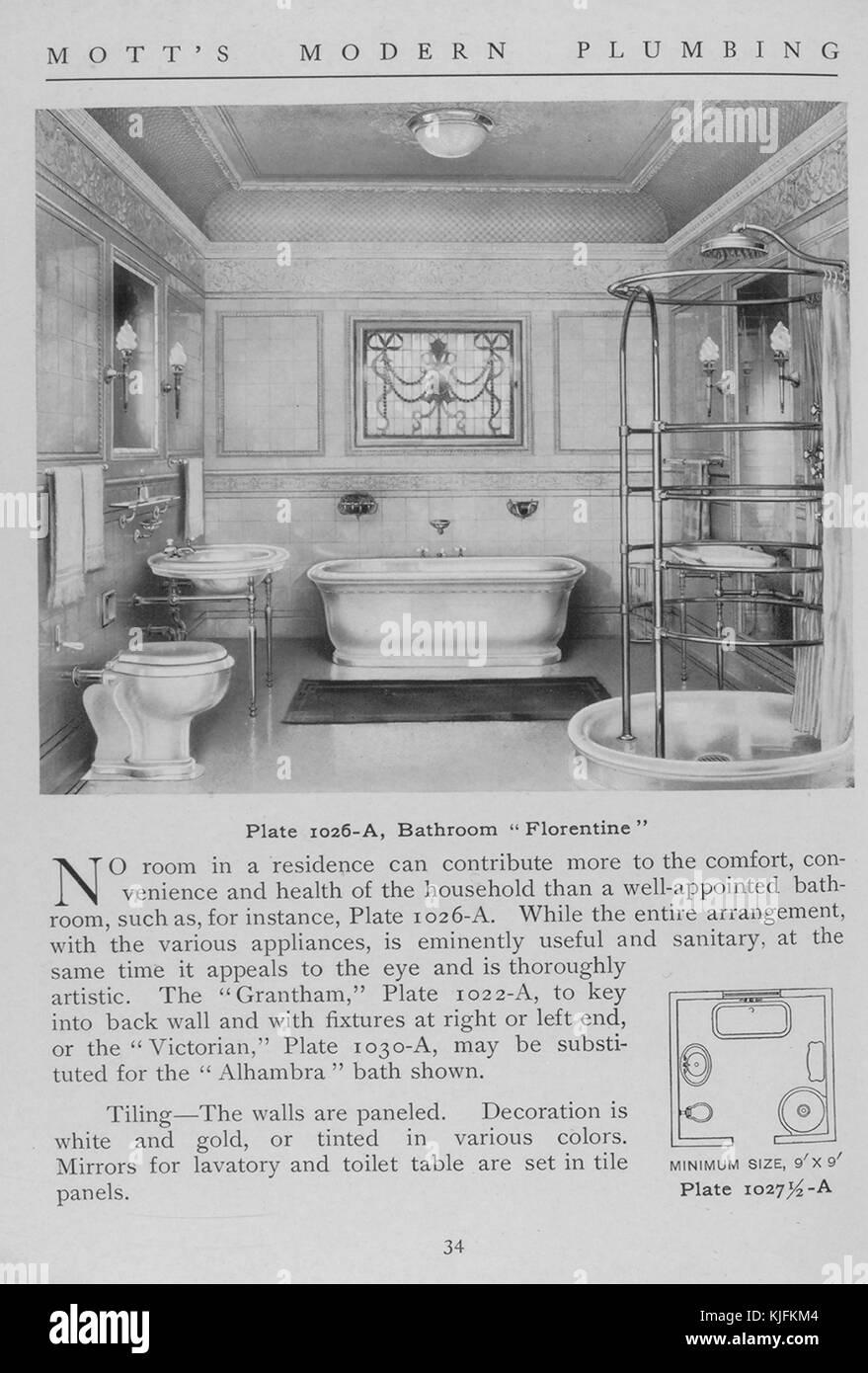 Salle de bains, style florentin, 1911. à partir de la bibliothèque ...