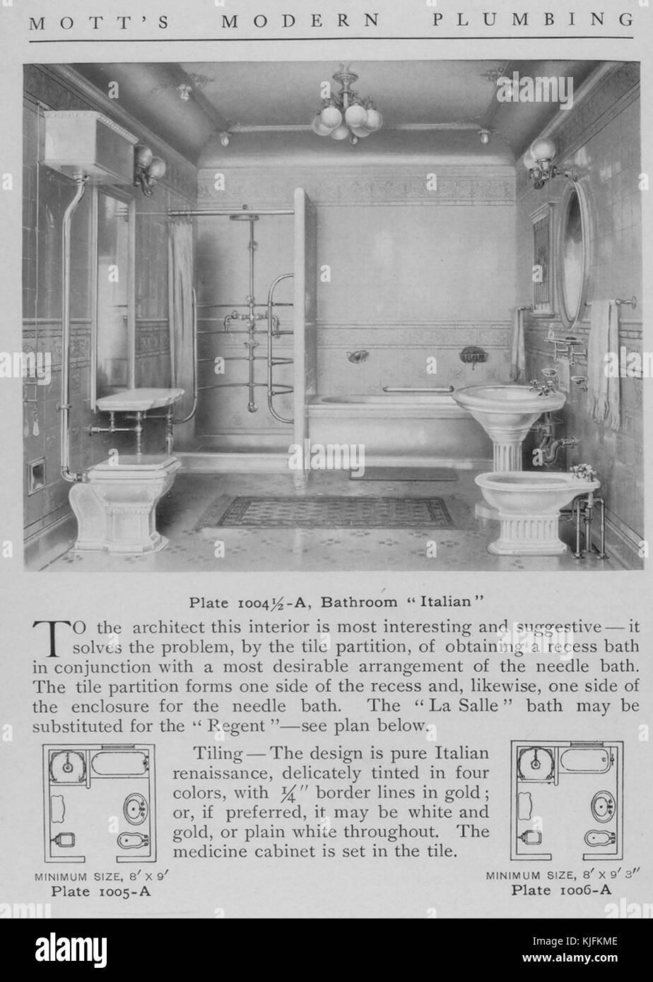 Salle de bains, style italien, 1911. à partir de la bibliothèque ...