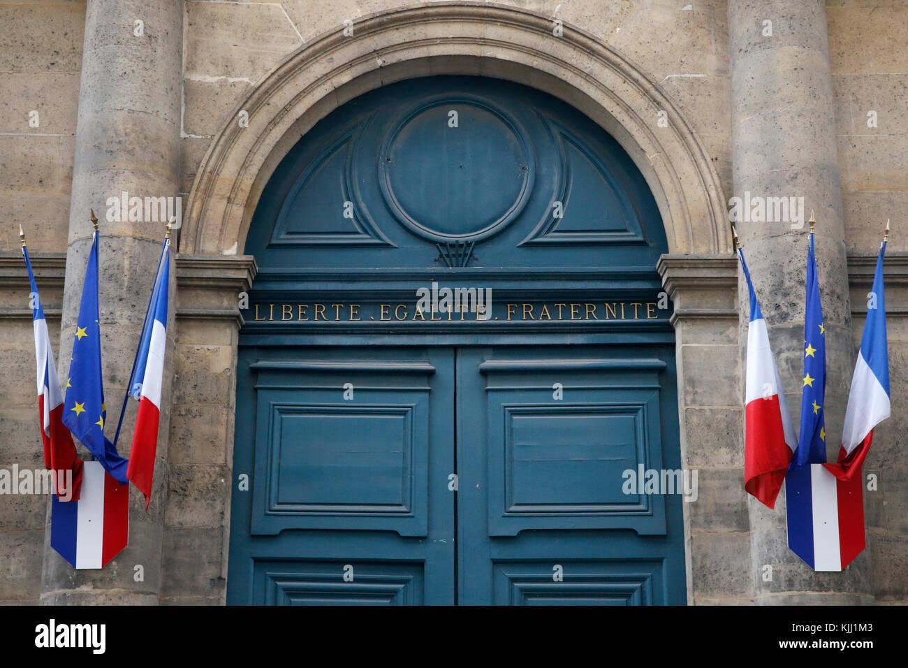 Républicain Français devise: Liberté, Égalité, Fraternité. La France. Photo Stock