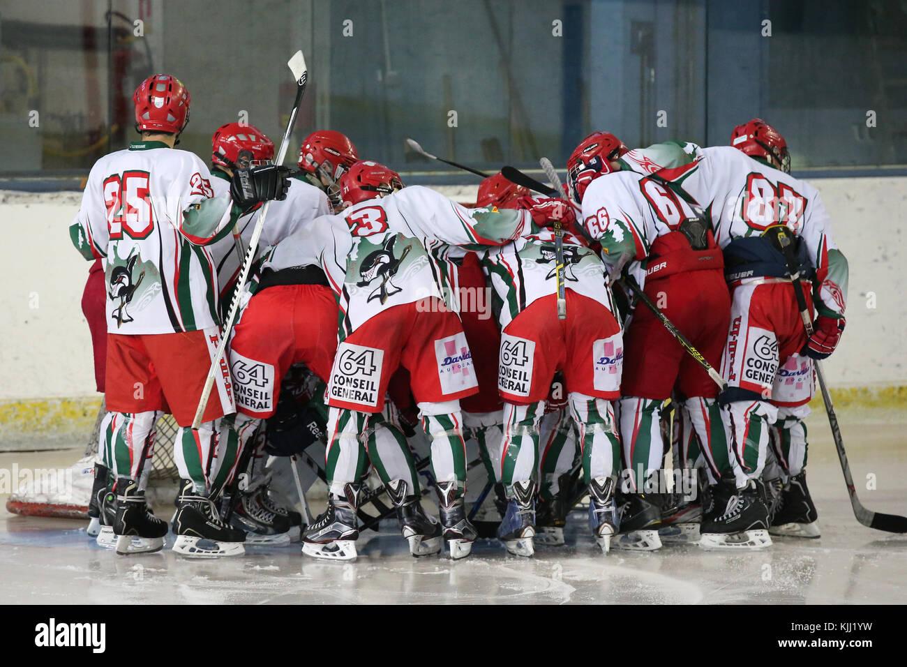 Match de hockey sur glace. La France. Photo Stock